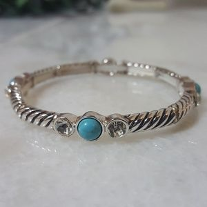Jewelry - Silver & Turquoise Bead Stretch Bracelet